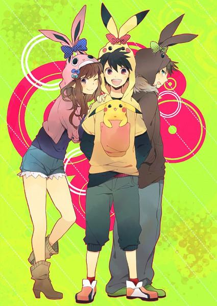 Tags: Anime, Itonoco, Pokémon SPECIAL, Pokémon, Pikachu, Green (Pokémon), Leaf (Pokémon), Red (Pokémon), Eevee (Cosplay), Pikachu (Cosplay), Pokémon (Cosplay), Wigglytuff (Cosplay), Mobile Wallpaper
