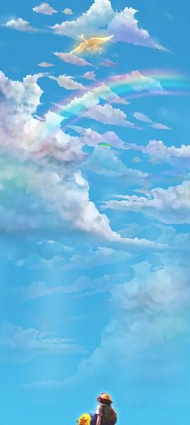 Tags: Anime, Yuki (Popopo), Pokémon, Satoshi (Pokémon), Pikachu, Ho-oh, Legendary Pokémon, Fanart