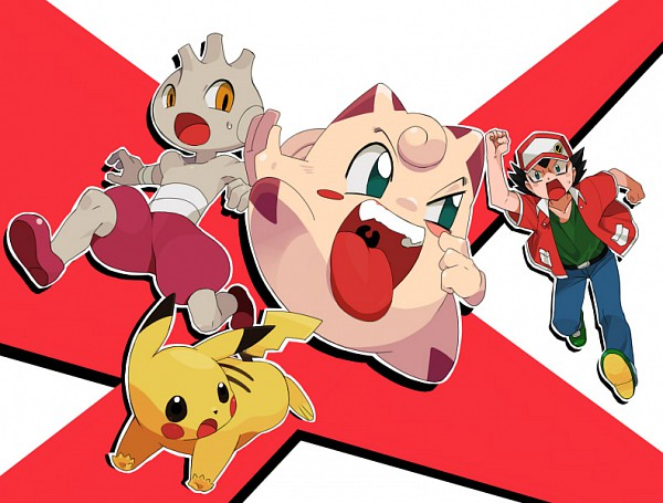 Tags: Anime, Pokémon, Clefairy, Pikachu, Tyrogue, Akai Isamu, Chasing, Artist Request, Fanart