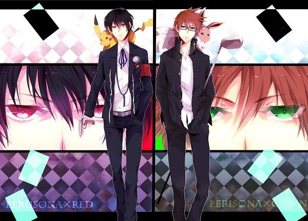 Tags: Anime, Ichiiro Hako, Pokémon, Green (Pokémon), Red (Pokémon), Eevee, Pikachu, Shin Megami Tensei: PERSONA 3 (Parody), Persona (Parody), Shin Megami Tensei: PERSONA 4 (Parody), Narukami Yu (Cosplay), Yuuki Makoto (PERSONA 3) (Cosplay), Beautiful Eyes