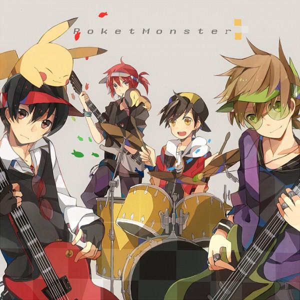 Tags: Anime, Kashi (Bluenest+), Pokémon, Red (Pokémon), Pikachu, Silver (Pokémon), Hibiki (Pokémon), Cyndaquil, Green (Pokémon), Musician, Drum, Electric Guitar, Drumsticks
