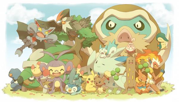 Tags: Anime, Jippe, Pokémon, Buneary, Torterra, Staraptor, Pikachu, Infernape, Pachirisu, Sudowoodo, Ambipom, Cyndaquil, Happiny