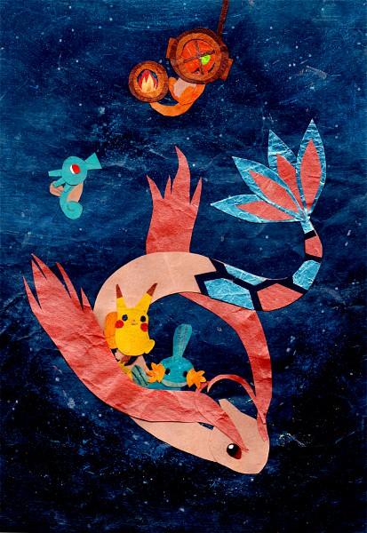 Tags: Anime, Botjira, Pokémon, Pikachu, Milotic, Charmander, Mudkip, Horsea, Mobile Wallpaper