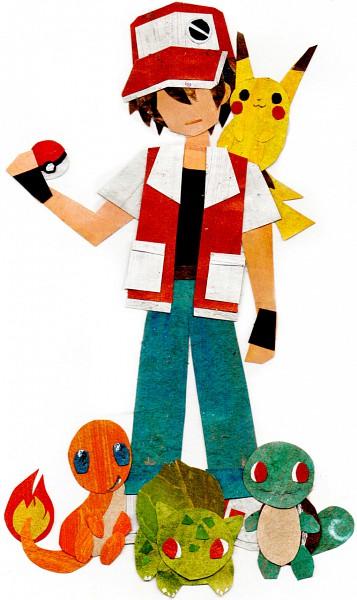 Tags: Anime, Botjira, Pokémon, Charmander, Squirtle, Pikachu, Bulbasaur, Red (Pokémon), Mobile Wallpaper