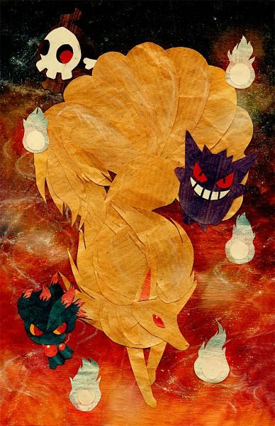Tags: Anime, Botjira, Pokémon, Duskull, Mismagius, Ninetales, Gengar, Mobile Wallpaper