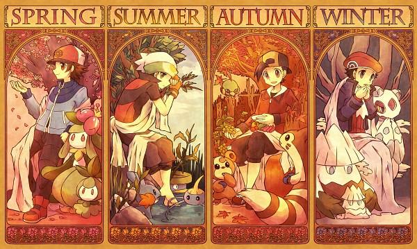 Tags: Anime, Kabocha Torute, Pokémon, Mudkip, Lilligant, Teddiursa, Yuuki (Pokémon), Touya (Pokémon), Petilil, Kouki (Pokémon), Surskit, Furret, Hibiki (Pokémon)