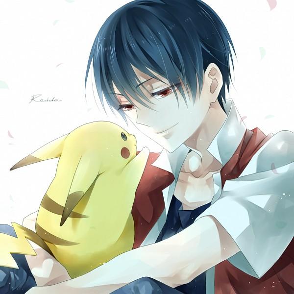 Tags: Anime, Kazari Tayu, Pokémon, Pikachu, Red (Pokémon), Eyes Half Closed