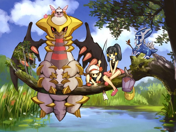 Tags: Anime, Kabocha Torute, Pokémon, Giratina, Kotone (Pokémon), Hikari (Pokémon), Palkia, Dialga, Fishing Rod, Tonari no Totoro (Parody), Cabbie Hat, Legendary Pokémon
