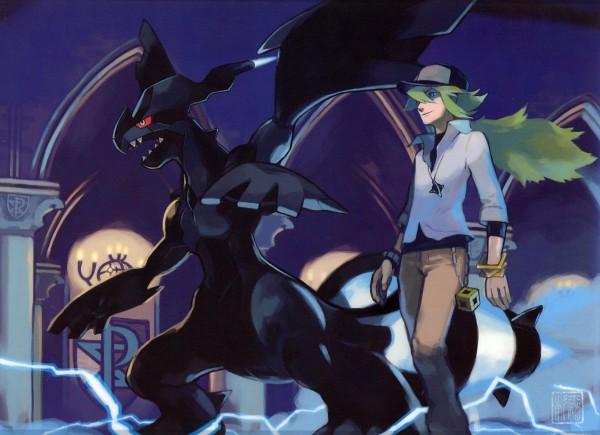 Tags: Anime, Sugimori Ken, Nintendo, GAME FREAK, Pokémon, Zekrom, N (Pokémon), Legendary Pokémon, Official Art