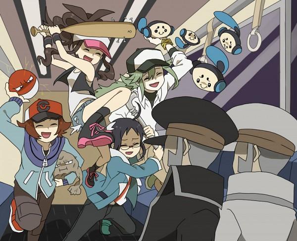 Tags: Anime, Pixiv Id 2208069, Pokémon, Cheren (Pokémon), Nobori, N (Pokémon), Kudari, Touko (Pokémon), Touya (Pokémon), Voltorb, Geodude, Tympole, Train Interior