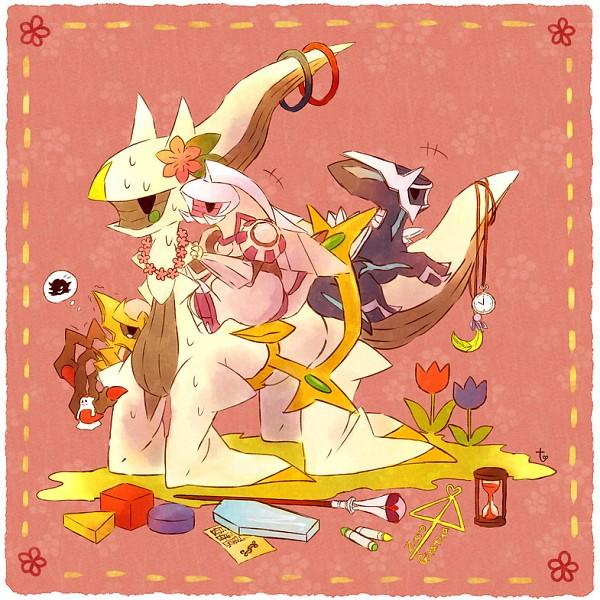 Tags: Anime, Kabocha Torute, Pokémon, Palkia, Dialga, Giratina, Arceus, Crayon, Hourglass, Tulip, Flower Necklace, Legendary Pokémon