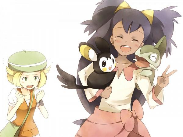 Tags: Anime, Pokémon, Emolga, Iris (Pokémon), Bel (Pokémon), Axew