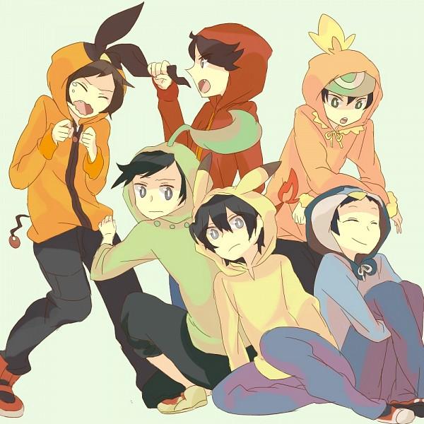 Tags: Anime, Hari (Pixiv2012188), Pokémon, Kouki (Pokémon), Red (Pokémon), Touya (Pokémon), Hibiki (Pokémon), Fire (Pokémon), Yuuki (Pokémon), Charmander (Cosplay), Tepig (Cosplay), Piplup (Cosplay), Chikorita (Cosplay)