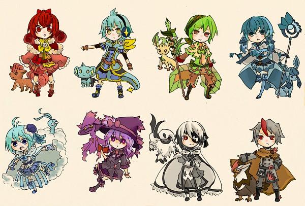 Tags: Anime, Pixiv Id 2820005, Pokémon, Vulpix, Altaria, Glaceon, Absol, Leafeon, Mismagius, Shinx, Staraptor, Pixiv