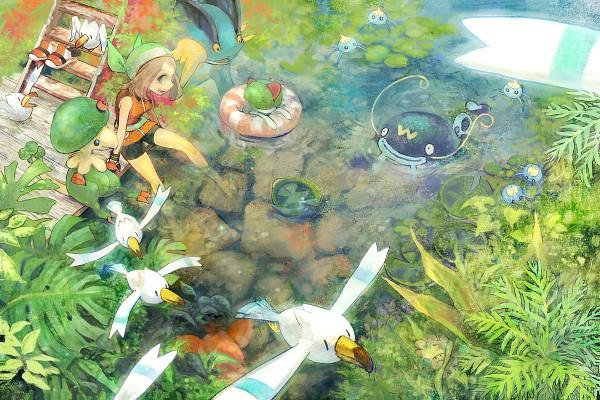 Tags: Anime, Pixiv Id 951389, Todot, Pokémon, Ralts, Surskit, Wingull, Shroomish, Breloom, Lotad, Swampert, Corphish, Haruka (Pokémon)