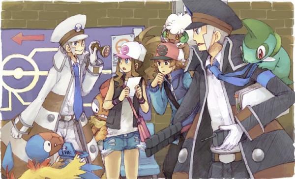 Tags: Anime, Pixiv Id 39627, Pokémon, Nobori, Kudari, Scrafty, Whimsicott, Touya (Pokémon), Axew, Archen, Touko (Pokémon), Pixiv