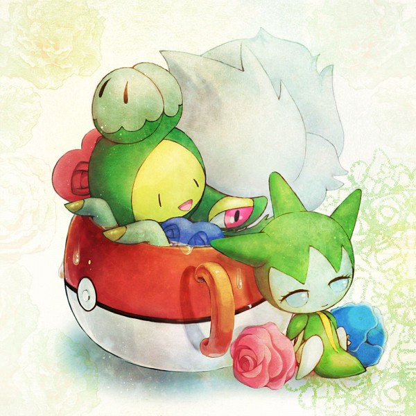 Tags: Anime, Pixiv Id 129638, Pokémon, Budew, Roserade, Roselia, Pokéball Mug, Pixiv, Fanart From Pixiv, Fanart