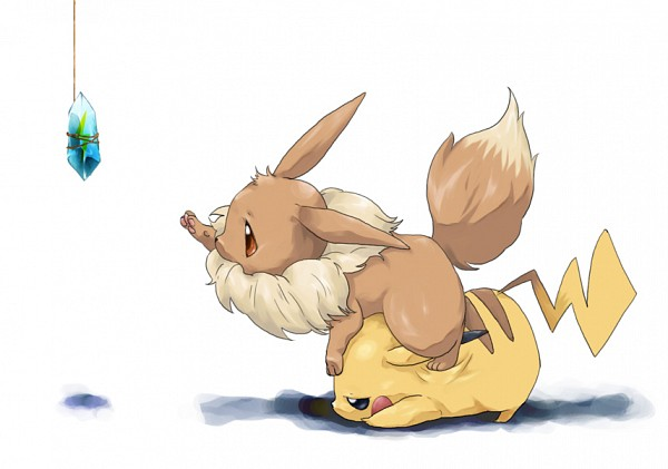 Tags: Anime, Pixiv Id 1440486, Pokémon, Eevee, Pikachu, Evolutionary Stone