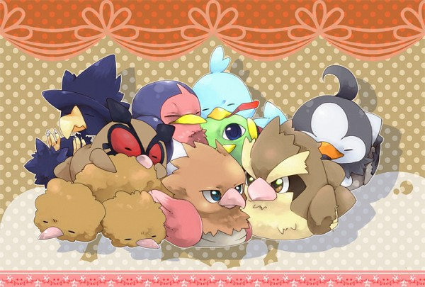 Tags: Anime, Pixiv Id 1440486, Pokémon, Murkrow, Ducklett, Natu, Taillow, Hoothoot, Spearow, Doduo, Starly, Pidgey