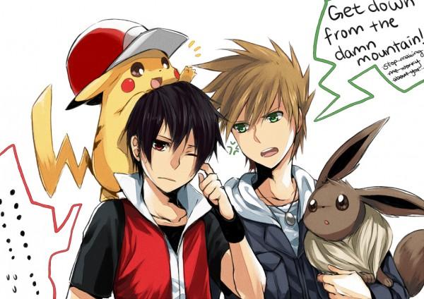 Tags: Anime, Cezaria, Pokémon Red & Green, Pokémon, Eevee, Pikachu, Green (Pokémon), Red (Pokémon), Pixiv, ReGre