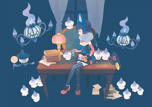 Tags: Anime, Pechika, Pokémon, Lampent, Litwick, Yamask, Shikimi (Pokémon), Chandelure, Stained Glass, Pixiv, Original