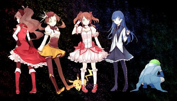Tags: Anime, Haruka Shuu, Pokémon, Touko (Pokémon), Pikachu, Kotone (Pokémon), Haruka (Pokémon), Mitsuru (Pokémon), Hikari (Pokémon), Sakura Kyouko (Cosplay), Brown Dress, Tomoe Mami (Cosplay), Mahou Shoujo Madoka☆Magica (Parody)