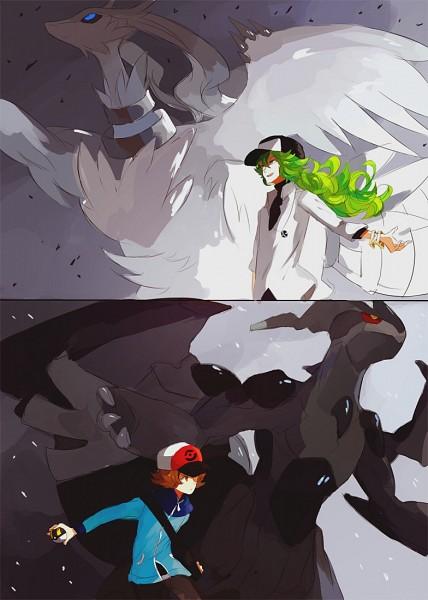 Tags: Anime, Kite-mitiko, Pokémon, N (Pokémon), Zekrom, Touya (Pokémon), Reshiram, Mobile Wallpaper, Legendary Pokémon