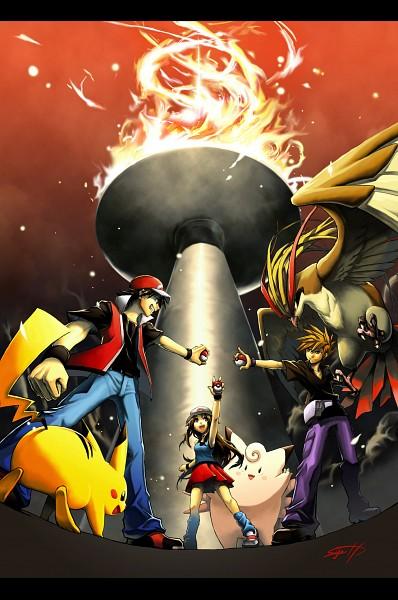 Tags: Anime, Pixiv Id 411252, Pokémon, Pidgeot, Green (Pokémon), Leaf (Pokémon), Red (Pokémon), Clefable, Pikachu, Pixiv, Mobile Wallpaper