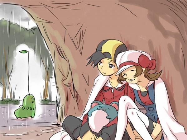 Tags: Anime, Kuronomine, Pokémon Gold & Silver, Pokémon, Hibiki (Pokémon), Chikorita, Marill, Kotone (Pokémon), Cave, Fanart, Pixiv, HibiKoto