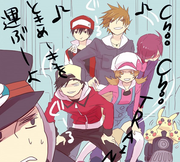 Tags: Anime, Kuronomine, Pokémon, Nobori, Hibiki (Pokémon), Green (Pokémon), Pikachu, Red (Pokémon), Silver (Pokémon), Kotone (Pokémon), Onigiri, Fanart, Pixiv