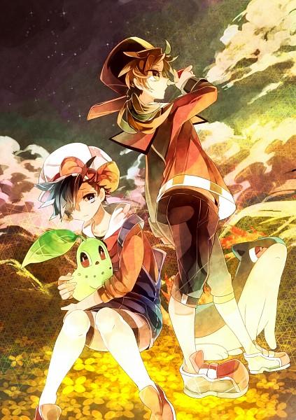 Tags: Anime, Suguru (Artist), Pokémon Gold & Silver, Pokémon, Chikorita, Quilava, Kotone (Pokémon), Hibiki (Pokémon), Hibiki (Pokémon) (Cosplay), Kotone (Pokémon) (Cosplay), Pixiv, Mobile Wallpaper, Fanart