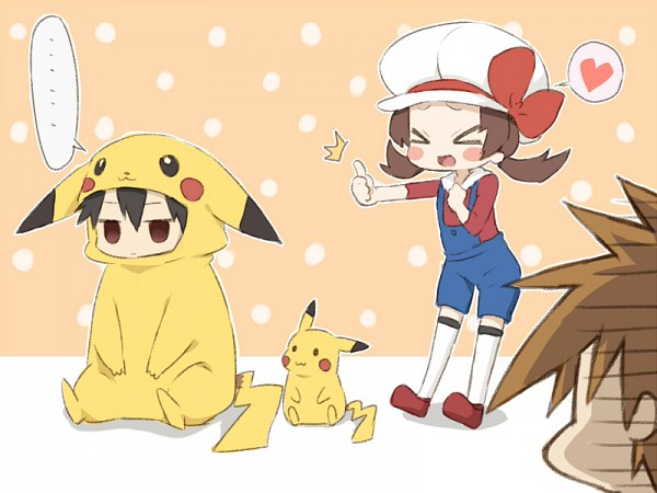 Tags: Anime, Punchiki, Pokémon, Green (Pokémon), Pikachu, Red (Pokémon), Kotone (Pokémon), Thumbs Up, Pokémon (Cosplay), No Nose, Pikachu (Cosplay), Pixiv, Fanart