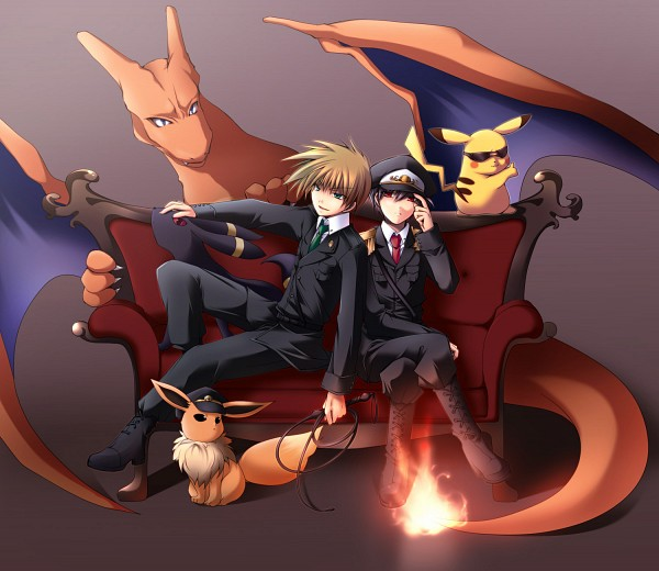 Tags: Anime, Mayokiti, Pokémon, Umbreon, Charizard, Pikachu, Green (Pokémon), Red (Pokémon), Eevee, Police Hat, Fanart, Pixiv