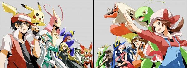 Tags: Anime, Pixiv Id 1415546, Pokémon, Shirona (Pokémon), Garchomp, Blaziken, Haruka (Pokémon), Touko (Pokémon), Meganium, Serperior, Hikari (Pokémon), Mikuri (Pokémon), Red (Pokémon)