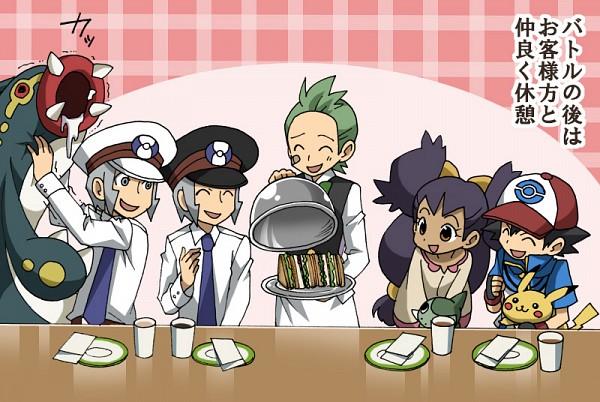 Tags: Anime, Pixiv Id 3286183, Pokémon, Dento (Pokémon), Satoshi (Pokémon), Nobori, Pikachu, Kudari, Iris (Pokémon), Subway Masters