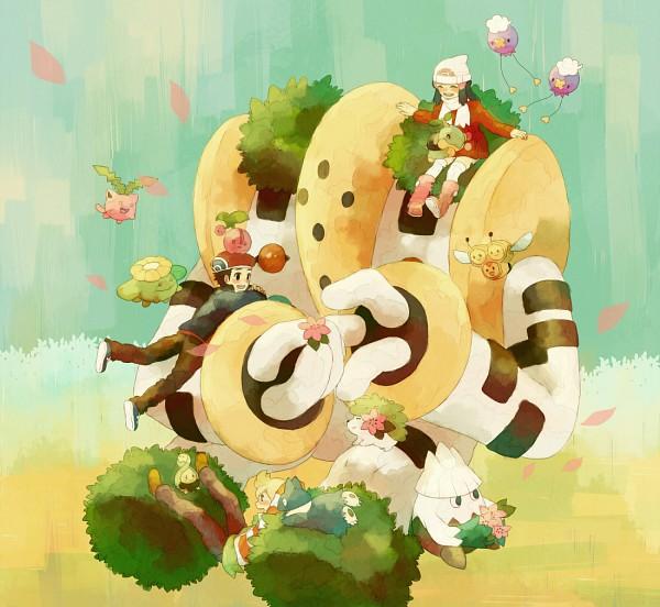 Tags: Anime, Pixiv Id 2493694, Pokémon, Drifloon, Combee, Budew, Turtwig, Regigigas, Munchlax, Jun (Pokémon), Shaymin, Kouki (Pokémon), Cherubi