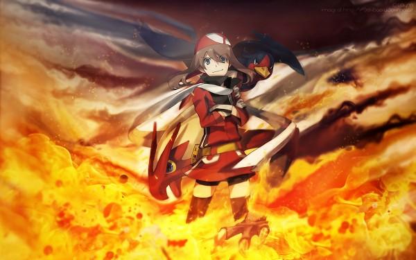 Tags: Anime, Nishihara Isao, Pokémon, Swellow, Blaziken, Haruka (Pokémon), Wallpaper