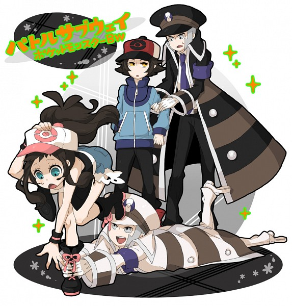 Tags: Anime, Fujichica, Pokémon Black & White, Pokémon, Nobori, Touya (Pokémon), Kudari, Touko (Pokémon), Grabbing Leg, Purple Neckwear, Sideburns, Fanart, Fanart From Pixiv