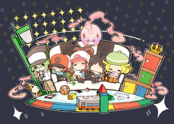 Tags: Anime, Pixiv Id 695792, Pokémon Black & White, Pokémon, Victini, Munna, Oshawott, Bel (Pokémon), Touko (Pokémon), Tepig, Cheren (Pokémon), Touya (Pokémon), N (Pokémon)
