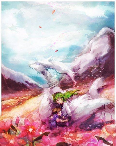 Tags: Anime, Sin Hitonatsu, Pokémon Black & White, Pokémon, Reshiram, Touya (Pokémon), N (Pokémon), Comfort, Wallpaper, Fanart, Fanart From Pixiv, Legendary Pokémon, Pixiv
