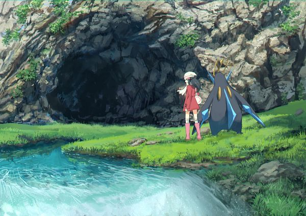 Tags: Anime, Pixiv Id 1922055, Pokémon Diamond & Pearl, Pokémon, Empoleon, Hikari (Pokémon), Cave, Pixiv, Fanart From Pixiv, Fanart