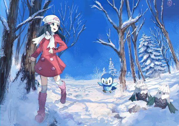 Tags: Anime, Pixiv Id 1922055, Pokémon Diamond & Pearl, Pokémon, Snover, Piplup, Hikari (Pokémon), Pixiv, Fanart From Pixiv, Fanart