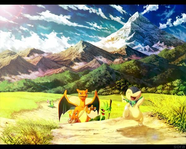 Tags: Anime, Pixiv Id 2491764, Pokémon Fushigi no Dungeon, Pokémon, Charizard, Cyndaquil, Celebi, Treecko, Grovyle, Fanart, Fanart From Pixiv, Legendary Pokémon, Pixiv, Pokemon Mystery Dungeon