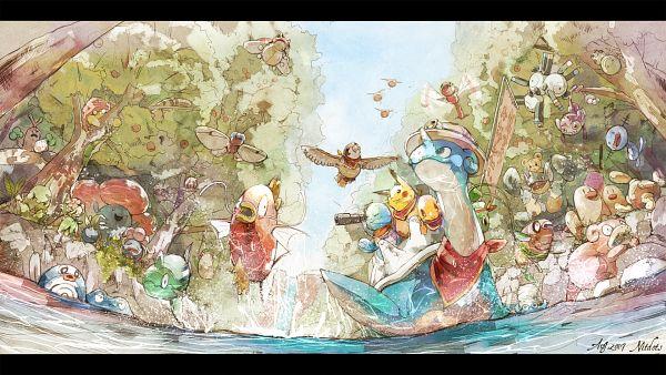 Tags: Anime, Pixiv Id 6831967, Pokémon Fushigi no Dungeon, Pokémon, Butterfree, Bellossom, Aipom, Lapras, Nidoqueen, Sunkern, Feebas, Pineco, Poliwrath, Pokemon Mystery Dungeon