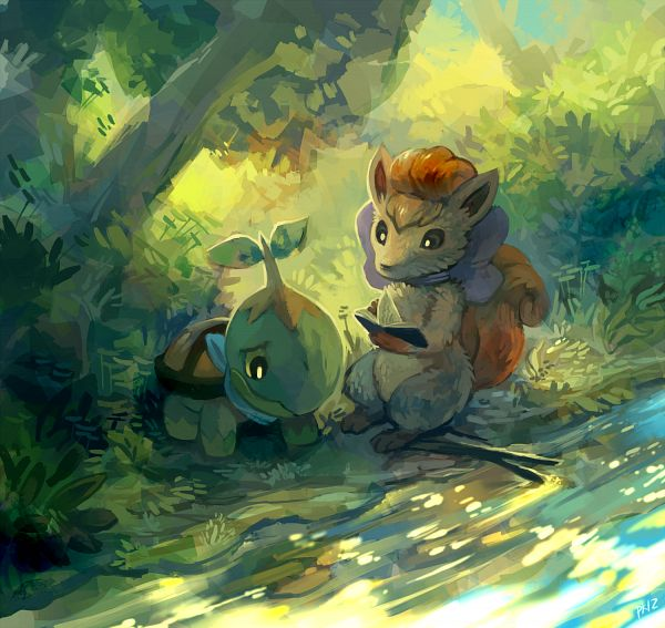 Tags: Anime, Purplekecleon, Pokémon Fushigi no Dungeon, Pokémon, Turtwig, Vulpix, Fanart From Pixiv, Fanart, Pixiv, Pokemon Mystery Dungeon