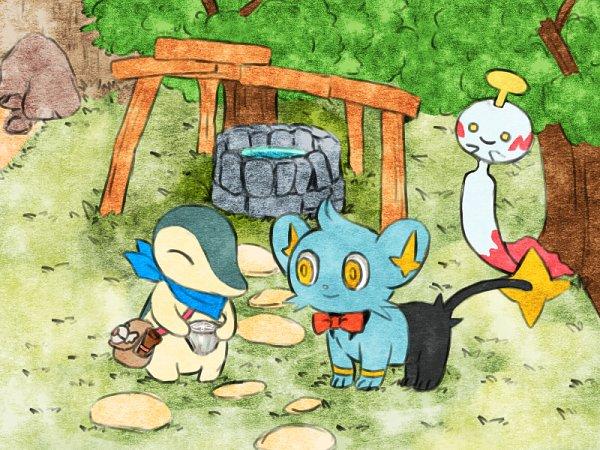 Tags: Anime, Pixiv Id 8155627, Pokémon Fushigi no Dungeon, Pokémon, Cyndaquil, Chimecho, Shinx, Pixiv, Fanart From Pixiv, Wallpaper, Fanart, Pokemon Mystery Dungeon