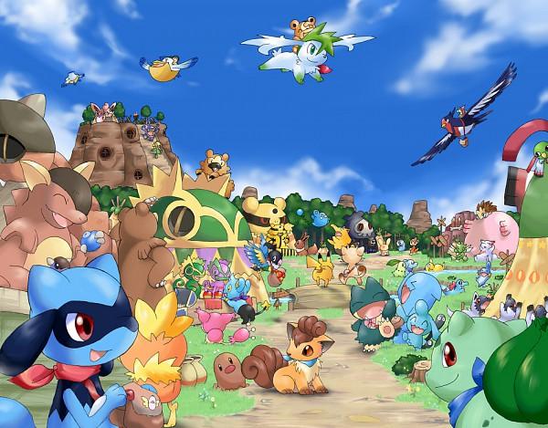 Tags: Anime, Pokémon Fushigi no Dungeon, Pokémon, Totodile, Zangoose, Mudkip, Poochyena, Wigglytuff, Pikachu, Cyndaquil, Ursaring, Bidoof, Eevee, Pokemon Mystery Dungeon