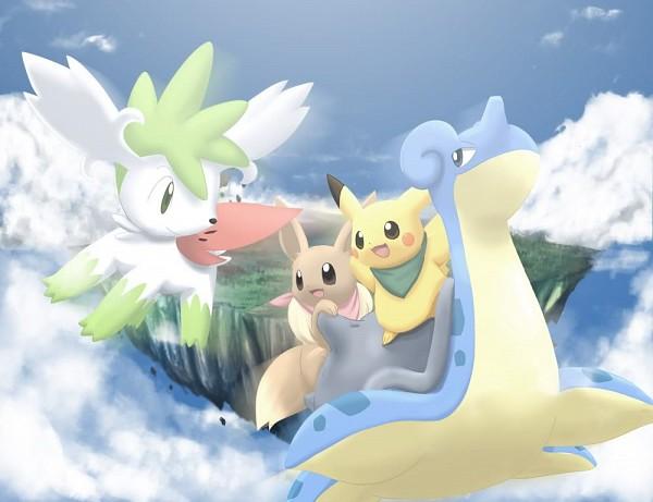 Tags: Anime, Pokémon Fushigi no Dungeon, Pokémon, Shaymin, Lapras, Eevee, Pikachu, Legendary Pokémon, Pokemon Mystery Dungeon