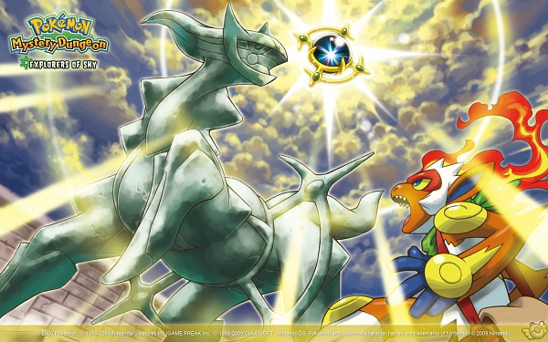 Tags: Anime, Pokémon (Anime), Pokémon Fushigi no Dungeon, Pokémon, Infernape, Arceus, Legendary Pokémon, Wallpaper, Official Art, Pokemon Mystery Dungeon