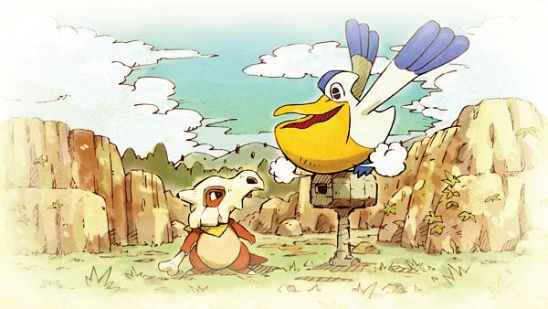 Tags: Anime, GAME FREAK, Pokémon Fushigi no Dungeon Kyuujotai DX, Pokémon Fushigi no Dungeon, Pokémon, Pelipper, Cubone, Official Art, Pokémon Mystery Dungeon: Rescue Team Dx